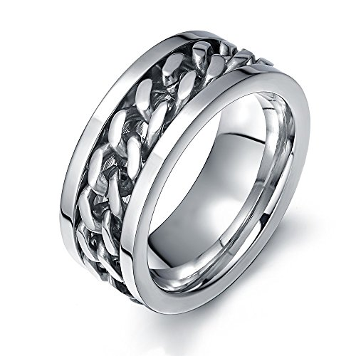 Ben Men's Fashion Silver Stainless Steel Wide 8mm Spinner Chain Shaped Ring,Size 11 ()