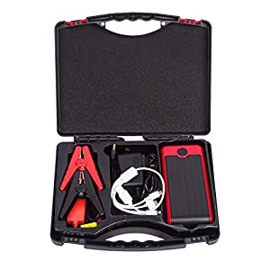 Autvivid 12000mAh Universal Jump Starter Dual Output Emergency Starting Power Charging with 4 USB LED Lighting (Red)