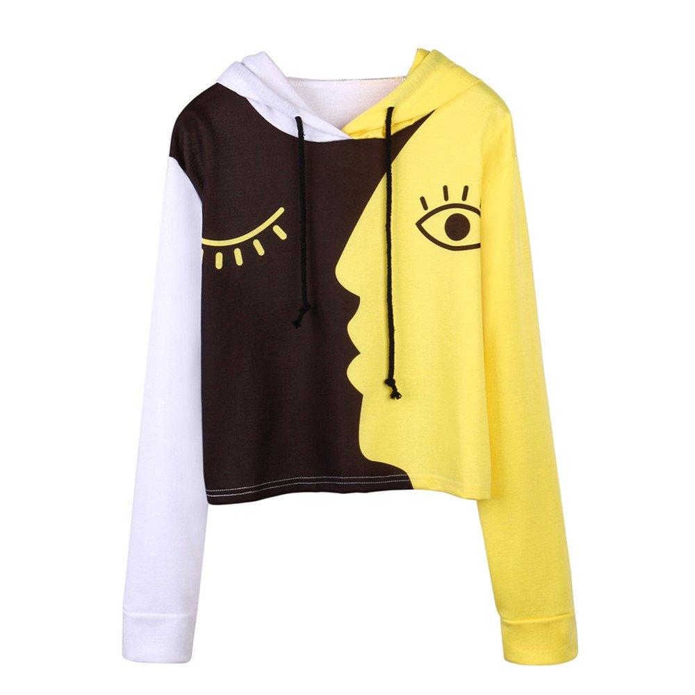 Women Blouse, Farjing Sweatshirt Hooded Long Sleeve Crop Patchwork Blouse Pullover Tops(XL,Yellow)
