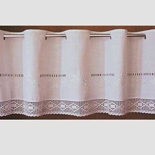 Scheibengardine 45x145 cm aus schöner Landhaus Serie Stickerei mit Häkelspitze in weiß 100% Baumwolle Bistrogardine gehäkelt & bestickt Country Chic Gardine Typ368