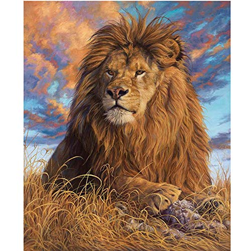 Moohue Needlework 14ct Counted Cross Stitch Kits Lion King DMC Thread Cross Stitch Patterns Cross Stitch Fabric Needles Room Wall Decoration (Lion King)