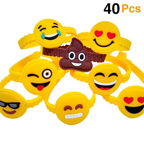 O'Hill 40Pcs Emoji Bracelets Emoticons Wristbands for Birthday Party Favors Supplies, Party Goodie (Halloween Goodie Bag Ideas Classroom)