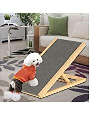 Wooden Dogs Ramp Pet Puppy Ramp Cats Ramp Car Dog Ladder Height 30-40cm Adjustable with Non-Slip Soft Carpet Pets Slope Ladder for Small Medium Large Dogs and Cats