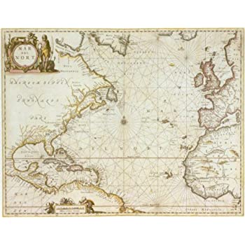 Amazoncom Historical Map of the Atlantic Ocean 1650 Antique
