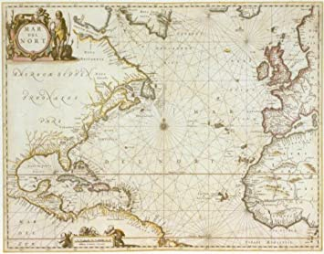 historical map of the atlantic ocean 1650 antique map wall art from pirates
