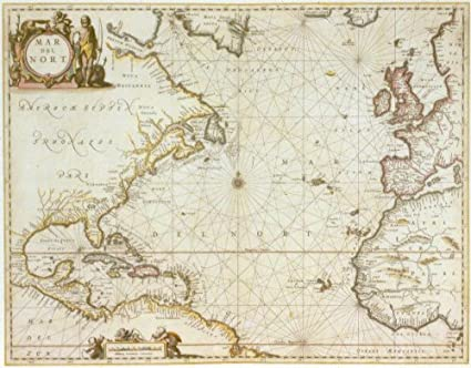 Historical Map of the Atlantic Ocean, 1650, Antique Map Wall Art (from on caribbean sea, map of germany, north sea, map of the caribbean, mediterranean sea, map of china, map of the great lakes, map of the brazilian highlands, world ocean, map of europe, united states of america, map of the haiti, map of africa, arctic ocean, map of the world, indian ocean, map of the india, map of the north atlantic, pacific ocean, gulf of mexico, map of the arctic ocean, black sea, map of the amazon river, map of the egypt, amazon river, southern ocean, map of the united states, map of england, map of portugal, red sea, map of the alps, map of the indian ocean, north america, map of north america,