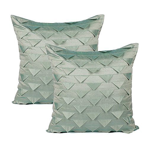 - The White Petals Set of 2 Sage Green Euro Pillow Sham Covers, Origami Style, Textured (Solid Sage Green, 26X26 inches)