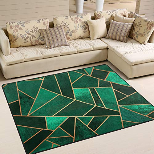 Emerald and Copper Area Rug 5'x 7', Educational Polyester Area Rug Mat for Living Dining Dorm Room Bedroom Home Decorative
