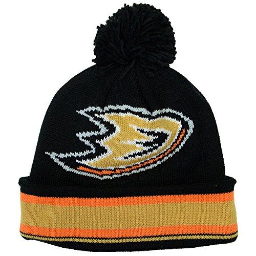 Anaheim Ducks Reebok Striped Cuffed Knit Hat with Pom ()