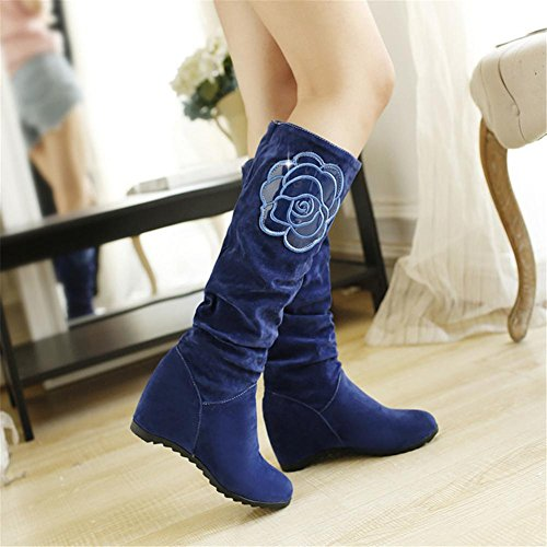 NVXIE Women Snow Boots Flat Nike Dunk Sky Hi Scrub Leisure Comfortable Keep Warm Thick bottom Non-slip Big Flowers Black Khaki Fall Winter Outdoor BLUE-EUR40UK7 eBIMrTf
