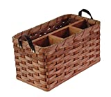 amish baskets and beyond - Amish Handmade Large Organizer Basket with Leather Loop Handles in NATURAL