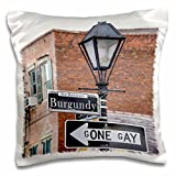 3D Rose US LA New Orleans French Quarter Traffic Sign amended Pillow Case, 16'' x 16''