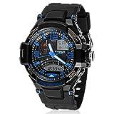 LANDFOX Waterproof Multi Function Military Digital LED Quartz Sports Wrist Watch Blue