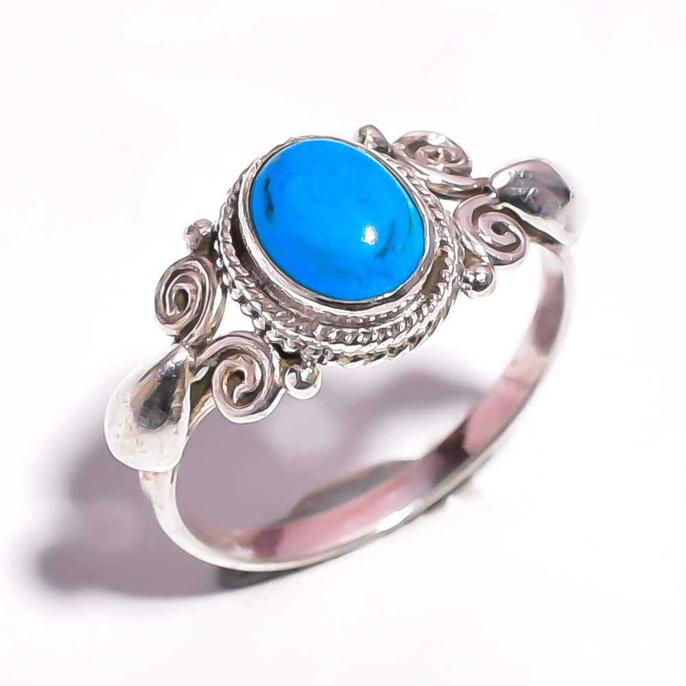 Mughal Gems /& Jewellery 925 Sterling Silver Ring Natural Turquoise Gemstone Fine Jewelry Ring Size 7 U.S