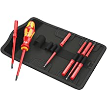 Wera KK VDE 60i/68i/7 Insulated Interchangeable Blade Pouch Set (SL/PH/SQ), 7 Piece