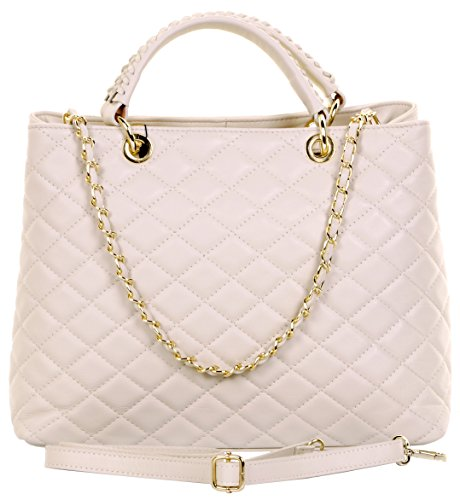 Bag Italian Made Handbag Top Leather Bag Hand Chain Large Includes Cream Leather Sacchi® Large Branded Handled a Storage Hand Metal Quilted Shoulder and Made with Protective Strap Primo 5wxI4qfn