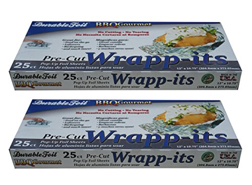Aluminum Wrapp-its Pop-up Foil Pop-Up Precut Foil Sheets Qty 50 Made in USA Hot Dog Wrap