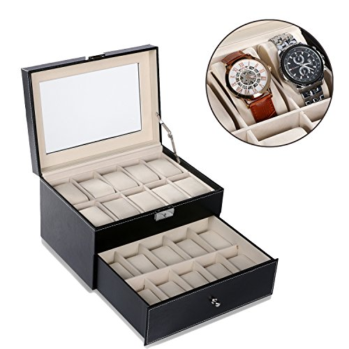 Hindom 2 Tier Glass Window Black Leather Watch Case Holder Display Storage Box Organizer for 20 Watches, US STOCK - Display Case 2 Tier