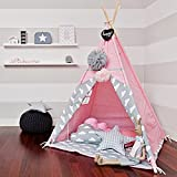 Pericross Children Teepee Kids Play Tent 145cm Indian Tent for Kid Indoor Play Ground Play House Tents Kid Outdoor Garden Tent White Xmas Gift with Thick Bottom