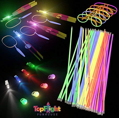Glow Sticks 108 PC Party Pack Goody Bags | Glow Bracelets, LED Light Toy Assortment, Finger Lights, Kids Prizes, Pinata Toys, and Fillers, Glow in the Dark Party Favors, Includes 10 Bonus Party Bags