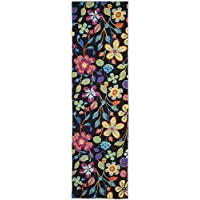 Safavieh Four Seasons Collection FRS428A Hand-Hooked Black and Multi Indoor/ Outdoor Runner (23 x 8)