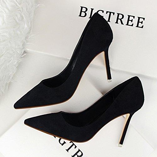 Ol Moda Fina Hoesczs Bajo Gamuza Señaló Delgada Alto Simple Tacón Zapatos Mujer Black Y Profesional De Con 6wgcdAgq