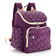 Diaper Bag Backpack With Baby Stroller Straps By HYBLOM, Stylish Travel Designer And Organizer For Women & Men, 12 Pockets, Purple