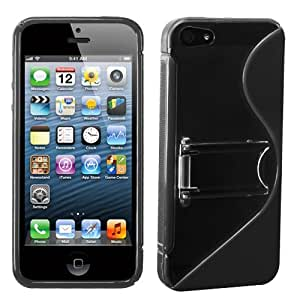 MYBAT Transparent Clear/Solid Black (S Shape With Stand) Gummy Cover for APPLE iPhone 5