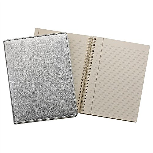 Wire-O-Notebook 9in METALLIC SILVER Fine Leather by Graphic Image™ - 7x9 by Graphic Image