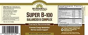 Windmill Super B-100 Balanced B Complex, 60 Tablets