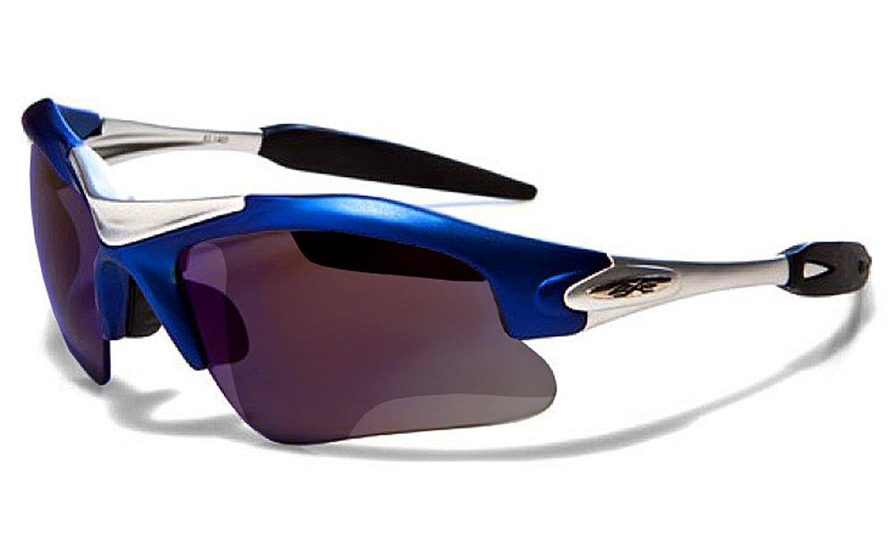 X-Loop Sonnenbrillen - Sport - Radfahren - Skifahren - Laufen - Driving - Motorradfahrer / Mod. 1400 Blau Schwarz / One Size Adult / 100% UV400 Schutz