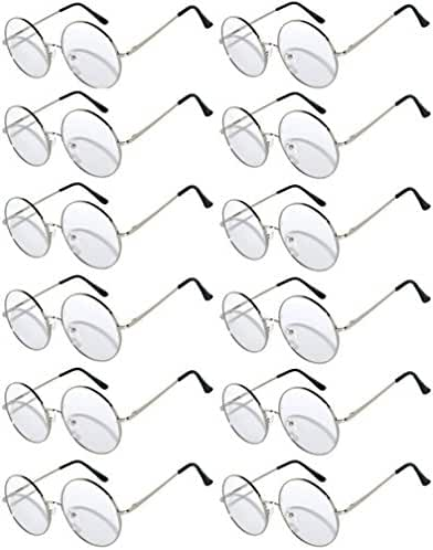 12 Pack Round Retro Vintage Circle Style Sunglasses Colored Metal Frame Spring Hinge OWL