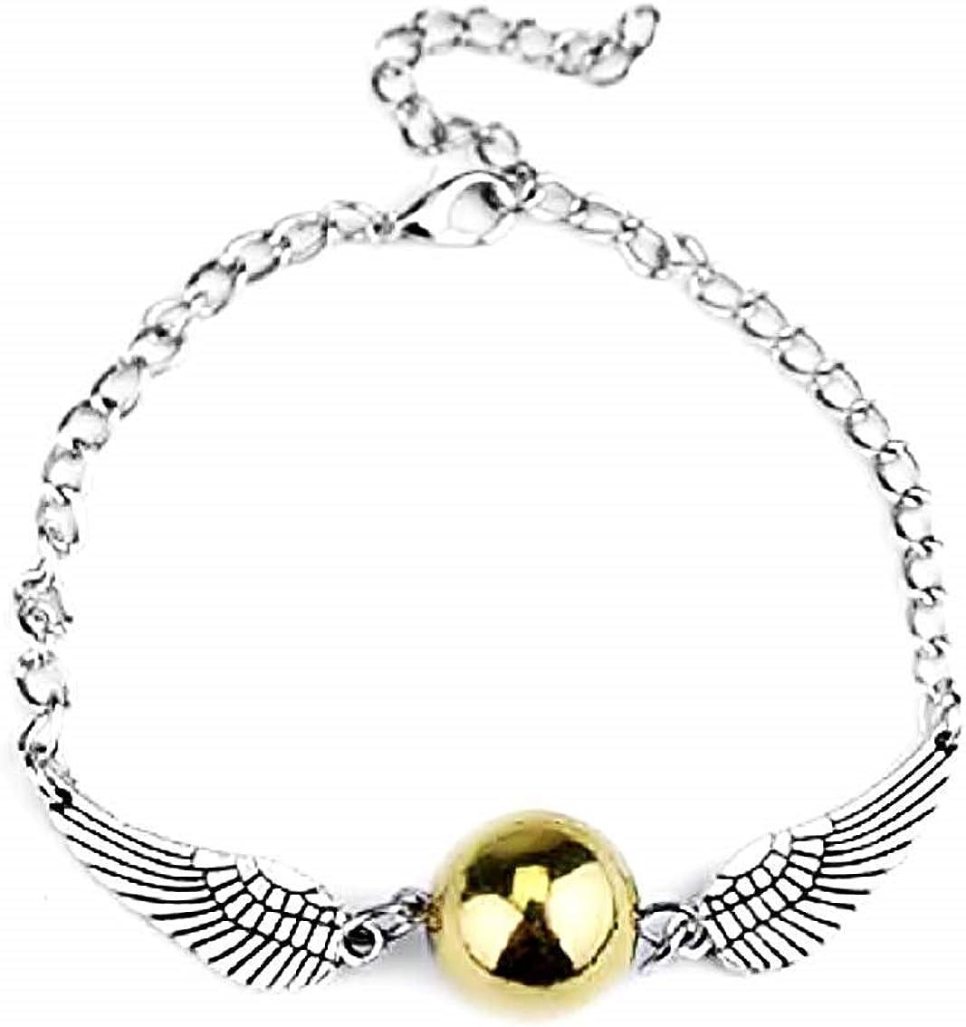 Legisdream - Pulsera con colgante de alas de ángel y perla dorada plateada, ideal para regalo de fiesta de cumpleaños