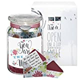 Glass KindNotes MOM Keepsake Gift Jar of Messages for Mothers Birthday, Just Because, Mother's Day - Refreshing Floral Best Mom