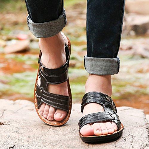 Sandali et mezza uomo Antiscivolo vera da pelle spiaggia di Pantofola Sandali da Morbida Vintage ZrZwxOq