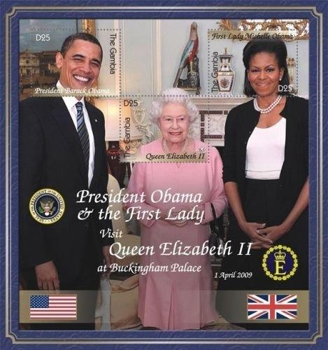 Barack Obama Pres Meets Queen Elizabeth II - Gambia Souvenir Sheet Scott #3208