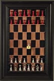 "Black Walnut Straight Up Chess board with 2.5"" Metal Chess pieces"