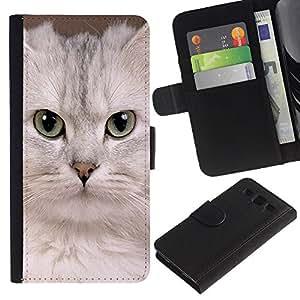 Be Good Phone Accessory // Caso del tirón Billetera de Cuero Titular de la tarjeta Carcasa Funda de Protección para Samsung Galaxy S3 III I9300 // White Singapura Kitten Devon Cat