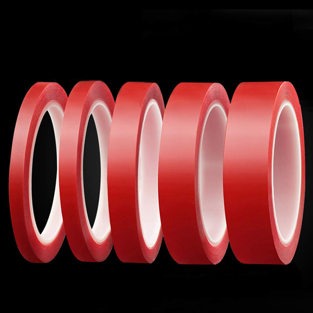 Clear Double Sided Adhesive Tape Removable, Heat Resistant Double Sided Acrylic Tape, 5Pcs 5Size (3mm, 5mm, 10mm, 15mm, 20mm)