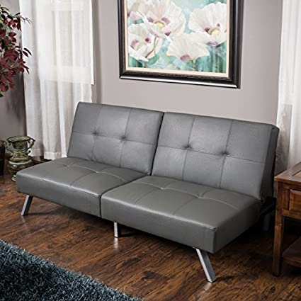 Great Deal Furniture Heston Grey Vinyl Click Clack Futon Sofa Bed