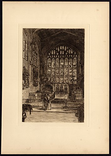 3 Antique Prints-HOLY TRINITY-CHANCEL-STAINED GLASS-STRATFORD-MacPherson-1889