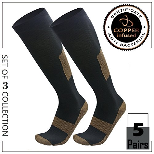 HIGHCAMP Copper Compression Knee High Recovery Support Socks- Best Copper Infused Fit Sock for Men and Women Running, Calf, Diabetic, Swelling, Shin Splints- L/XL (5 Pairs Value Pack, L/XL) (As Seen On Tv Socks For Plantar Fasciitis)