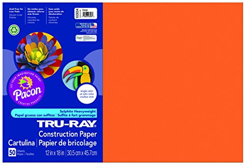 Orange 12x12 Paper (Pacon Tru-Ray Construction Paper, 12-Inches by 18-Inches, 50-Count, Orange (103034))