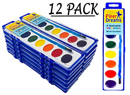 Piper Dreams 12 Pack Watercolor Paint Set - Each Tray Includes 8 Vibrant Colors, a Brush and a Closable Lid for Kids and Students on The Go
