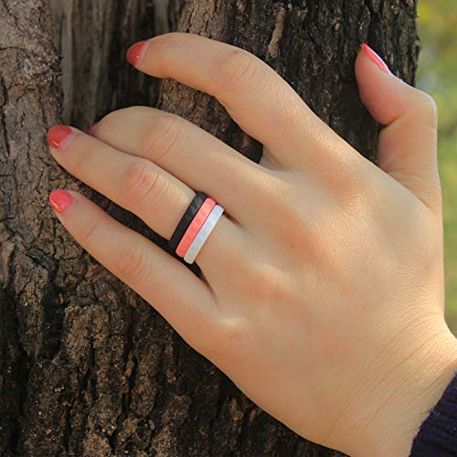 Silicone Wedding Ring Bands for Women 14 Pack 4 5 6 7 8 9 Women Thin Stackable Narrow Diamond Pattern Glitter Powder Rubber Wedding Band Rings 2.5mm & 3mm Wide (14 Colors, 6.5-7(17.3mm))