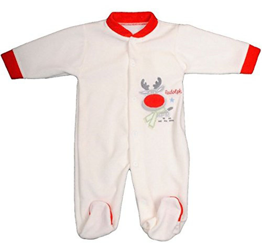 Baby Girls Or Boys Christmas Rudolph Reindeer Velour All In One (3-6 Months) Pequilino
