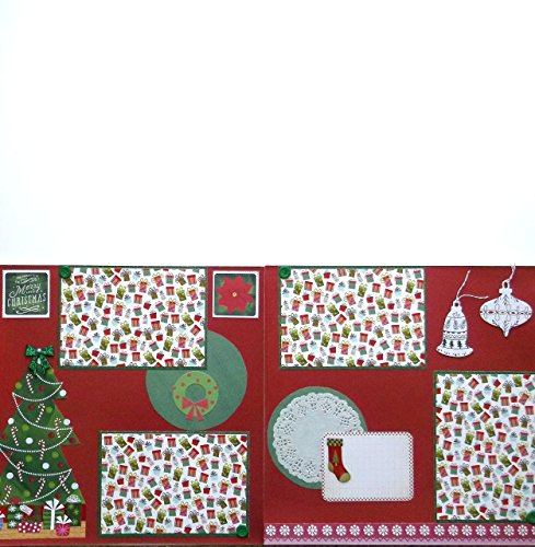 Merry Christmas Glitter Scrapbook (2) Pages Premade (Vacation Chipboard)