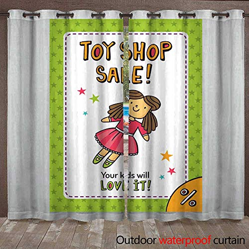 Outdoor Curtain for Patio Toy Shop Vector Sale Flyer Design with Cute Doll W96 x L108
