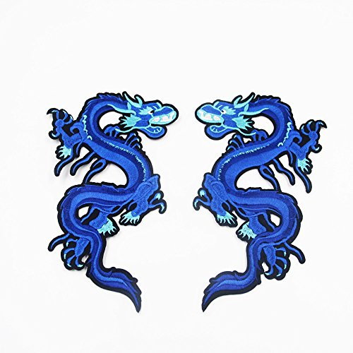 Blue Embroidered Dragon (2Pcs/Pair Big Blue Dragon Animal Embroidered Patches Iron on Sew for Clothes Applique DIY Sticker Parches Down Jacket Party)