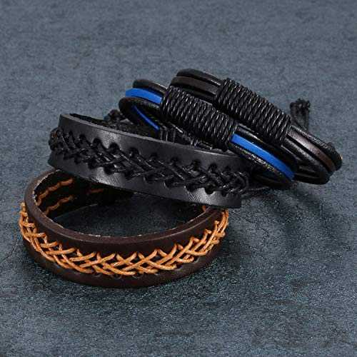 Aroncent 4PCS Handmade Vintage Wristband, Leather Rope Bracelet, Tribal Braided Cuff Bangle, Adjustable